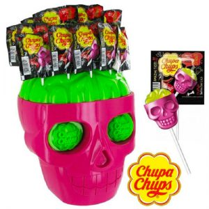 Chupa Chups 3D Mini Skull Strawberry-Lime 10pc Lollipops Display