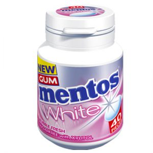 Mentos White Gum Bubblefresh Bottle Sugar Free with Xylitol 40pc