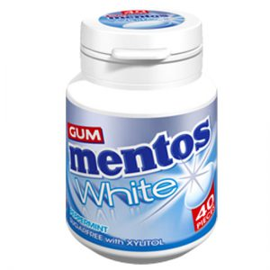 Mentos White Gum Peppermint Bottle Sugar Free with Xylitol 40pc